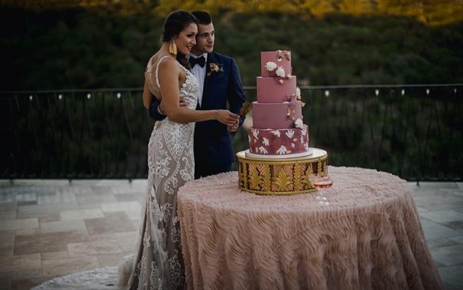 Bride and Groom cutting dusty rose cake on their wedding day at Antonia Villa wedding.