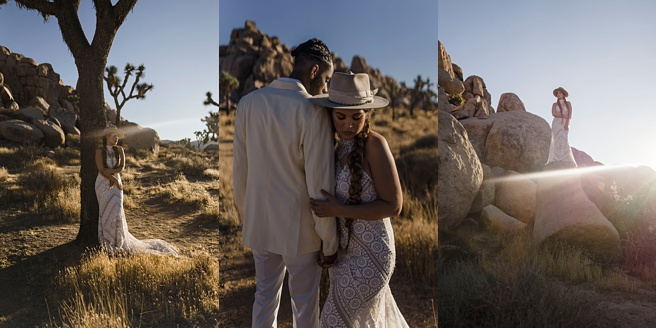 Couple in Joshua Tree for their Desert Wedding. Bride in Bohemian dress.