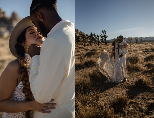 Couple embracing during their desert wedding at Joshua Tree National Park.