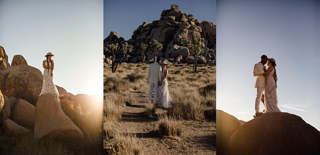 Couple getting married at their elopement in front of rock formations at Joshua Tree National Park