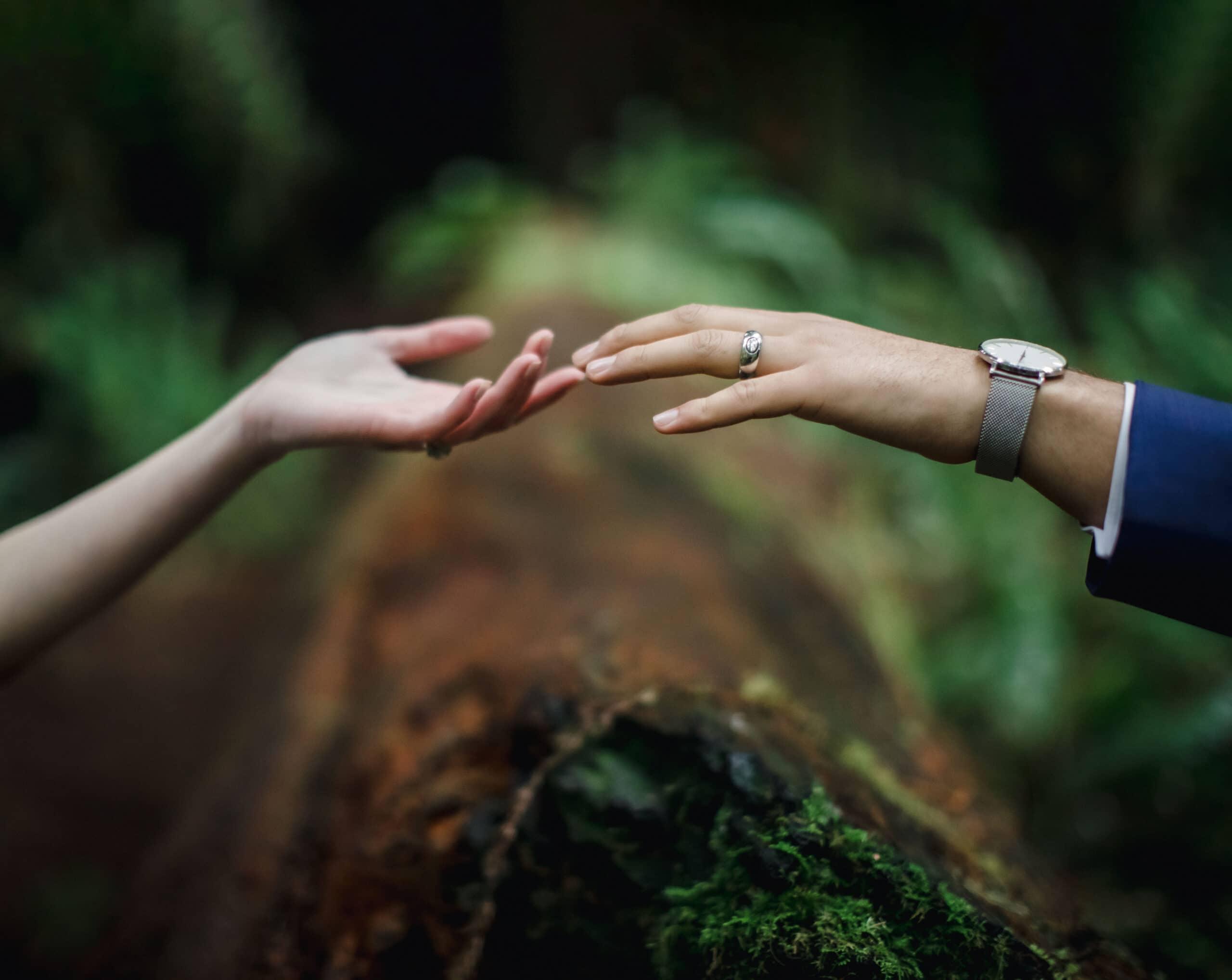 hands of bride and groom in Oregon