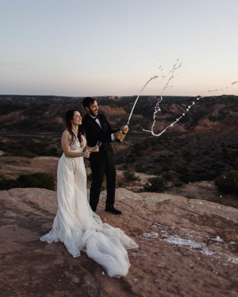 Couple eloping in Palo Duro Canyon in Texas.